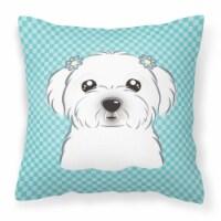 Checkerboard Blue Maltese Canvas Fabric Decorative Pillow