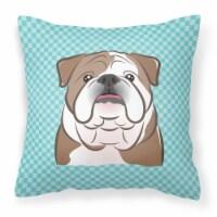 Checkerboard Blue English Bulldog  Canvas Fabric Decorative Pillow