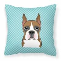 Checkerboard Blue Boxer Canvas Fabric Decorative Pillow - 18Hx18W