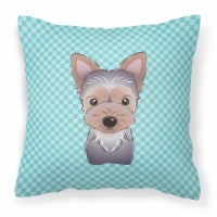 Checkerboard Blue Yorkie Puppy Canvas Fabric Decorative Pillow