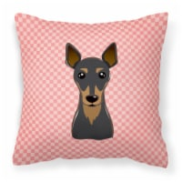 Checkerboard Pink Min Pin Canvas Fabric Decorative Pillow