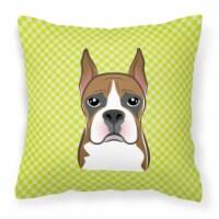 Checkerboard Lime Green Boxer Canvas Fabric Decorative Pillow - 18Hx18W