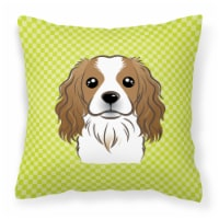 Checkerboard Lime Green Cavalier Spaniel Canvas Fabric Decorative Pillow