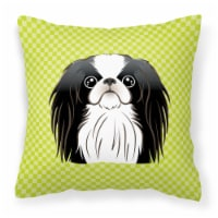 Checkerboard Lime Green Japanese Chin Canvas Fabric Decorative Pillow