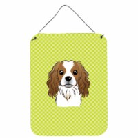 Checkerboard Lime Green Cavalier Spaniel Wall or Door Hanging Prints