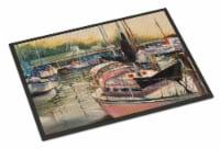 Carolines Treasures  JMK1032MAT Black Sails Sailboat Indoor or Outdoor Mat 18x27