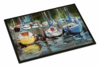 Carolines Treasures  JMK1084MAT Yellow boat Sailboat Indoor or Outdoor Mat 18x27