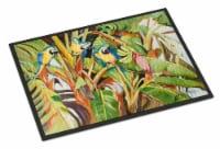 Carolines Treasures  JMK1010JMAT Three Blue Parrots Indoor or Outdoor Mat 24x36 - 24Hx36W