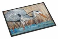 Blue Heron in the reeds Indoor or Outdoor Mat 24x36 - 24Hx36W