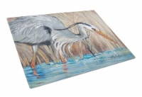 Blue Heron in the reeds Glass Cutting Board Large - 12Hx15W