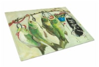Recession Food Fish caught with Spam Glass Cutting Board Large - 12Hx15W