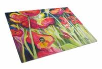 Carolines Treasures  JMK1121LCB Red Poppies Glass Cutting Board Large - 12Hx15W