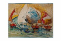 Carolines Treasures  JMK1037PLMT Buzzards Sailboat Race Fabric Placemat - Large