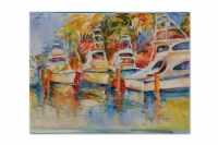 Deep Sea Fishing Boats at the Dock Fabric Placemat