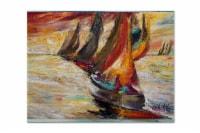 Carolines Treasures  JMK1062PLMT Red Sails Sailboat  Fabric Placemat - Large