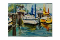 Carolines Treasures  JMK1085PLMT Yellow boat II Sailboat Fabric Placemat