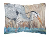 Blue Heron in the reeds Canvas Fabric Decorative Pillow - 12Hx16W
