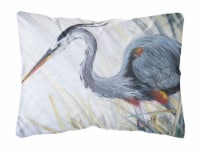 Blue Heron Frog hunting Canvas Fabric Decorative Pillow