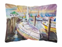 Sailboats at the Fairhope Yacht Club Docks Canvas Fabric Decorative Pillow - 12Hx16W
