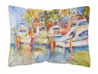 Deep Sea Fishing Boats at the Dock Canvas Fabric Decorative Pillow