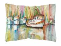 Carolines Treasures  JMK1074PW1216 Shrimp Fleet Canvas Fabric Decorative Pillow - 12Hx16W