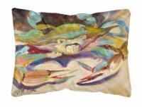 Blue Crab Tail Fin Canvas Fabric Decorative Pillow - 12Hx16W