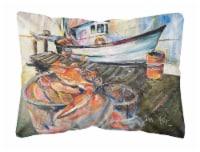 Blue Crab Trap Canvas Fabric Decorative Pillow
