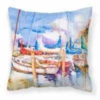 Runaway Sailboats Canvas Fabric Decorative Pillow - 14Hx14W