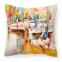 Pelicans and Sailboats Canvas Fabric Decorative Pillow - 14Hx14W
