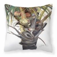 Coconut Tree Top Canvas Fabric Decorative Pillow - 14Hx14W