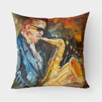 Jazz Sazophone Canvas Fabric Decorative Pillow