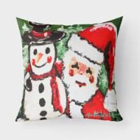 Friends Snowman and Santa Claus Canvas Fabric Decorative Pillow