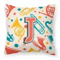 Letter J Retro Teal Orange Musical Instruments Initial Canvas Fabric Decorative - 14Hx14W