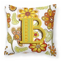 Letter B Floral Mustard and Green Canvas Fabric Decorative Pillow - 14Hx14W