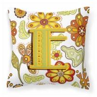 Letter E Floral Mustard and Green Canvas Fabric Decorative Pillow - 14Hx14W