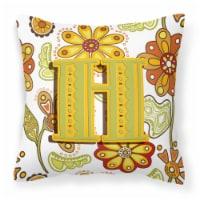 Letter H Floral Mustard and Green Canvas Fabric Decorative Pillow - 14Hx14W