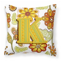 Letter K Floral Mustard and Green Canvas Fabric Decorative Pillow - 14Hx14W