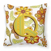Letter Q Floral Mustard and Green Canvas Fabric Decorative Pillow - 14Hx14W