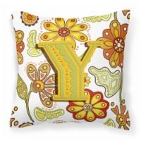 Letter Y Floral Mustard and Green Canvas Fabric Decorative Pillow - 14Hx14W