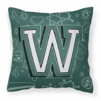Letter W Back to School Initial Canvas Fabric Decorative Pillow - 14Hx14W
