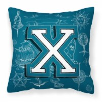 Letter X Sea Doodles Initial Alphabet Canvas Fabric Decorative Pillow