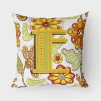 Letter E Floral Mustard and Green Canvas Fabric Decorative Pillow - 18Hx18W