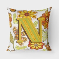 Letter Floral Mustard and Green Canvas Fabric Decorative Pillow CJ2003