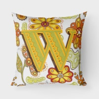 Letter W Floral Mustard and Green Canvas Fabric Decorative Pillow - 18Hx18W