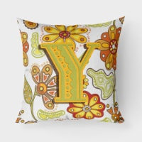 Letter Y Floral Mustard and Green Canvas Fabric Decorative Pillow - 18Hx18W