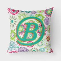 Letter B Flowers Pink Teal Green Initial Canvas Fabric Decorative Pillow