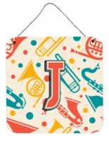 Letter J Retro Teal Orange Musical Instruments Initial Wall or Door Hanging Prin - 6HX6W