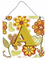 Letter A Floral Mustard and Green Wall or Door Hanging Prints - 6HX6W