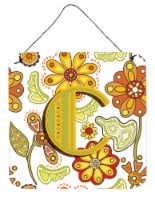 Letter C Floral Mustard and Green Wall or Door Hanging Prints - 6HX6W