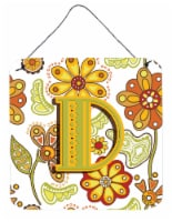 Letter D Floral Mustard and Green Wall or Door Hanging Prints - 6HX6W